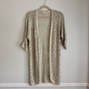 Charming Charlie Oatmeal Open Knit Cardigan